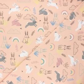 Printed Jersey fabric - blush pink Rabbit world x 10cm