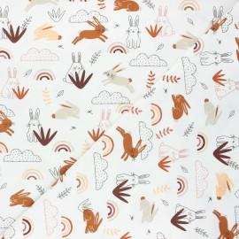 Tissu jersey Rabbit world - blanc cassé x 10cm
