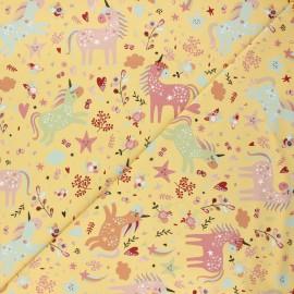Tissu jersey Tendres Licornes - jaune x 10cm