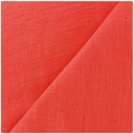 Thevenon washed Linen Fabric - coral x 10cm