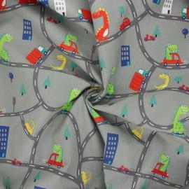 Cotton poplin fabric - mouse grey Funny dino x 10cm