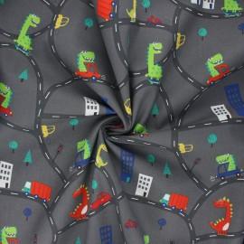 Cotton poplin fabric - dark grey Funny dino x 10cm