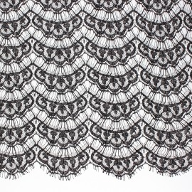 Tissu dentelle de Calais® Brunelle - noir x 10cm