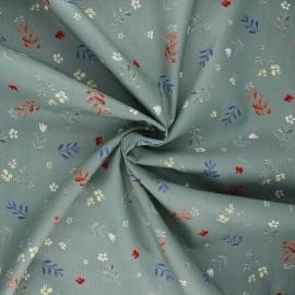 Cotton poplin fabric - eucalyptus Flower doodle x 10cm