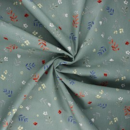 Tissu popeline de coton Flower doodle - eucalyptus x 10cm