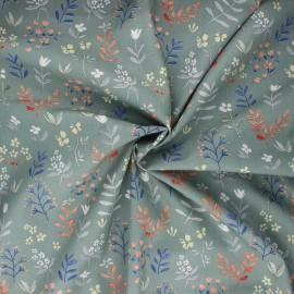 Cotton poplin fabric - grey green Plant doodle x 10cm