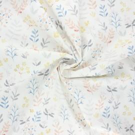 Cotton poplin fabric - raw Plant doodle x 10cm