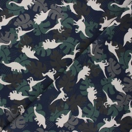 Printed Jersey fabric - night blue Shadow dino x 10cm