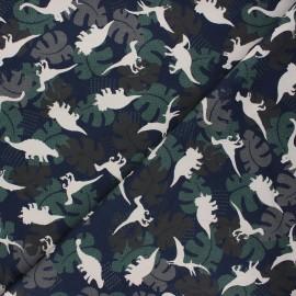 Tissu jersey Shadow dino - bleu nuit x 10cm