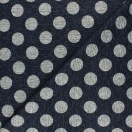 Lurex viscose knit fabric - night blue Dotty x 10cm