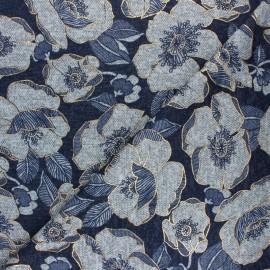 Viscose knit fabric - navy blue Golden flowers x 10cm