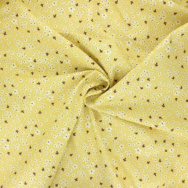 Tissu popeline de coton Doux myosotis - jaune x 10cm