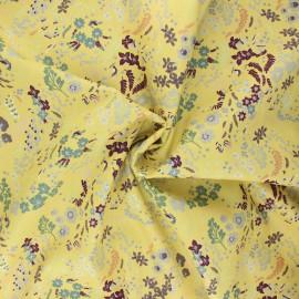 Tissu popeline de coton Blooming spring - jaune x 10cm