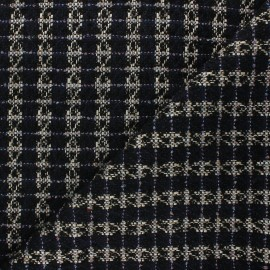 Lurex tweed fabric - navy blue Lady x 10cm