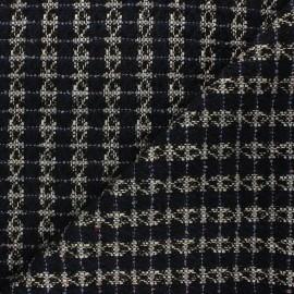 Tissu tweed lurex Lady - bleu marine x 10cm