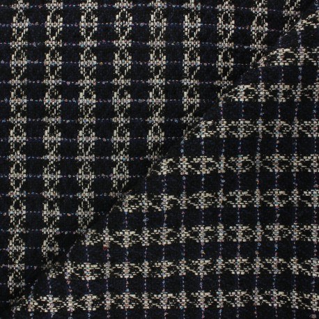 Lurex tweed fabric - navy blue Lady x 10cm