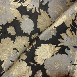 Jacquard lining fabric - dark grey Golden fiore x 10cm