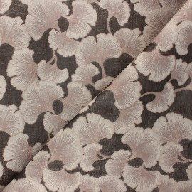Tissu doublure jacquard Luminous ginkgo - rose x 10cm