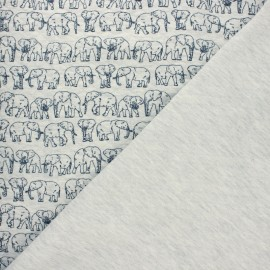 Tissu jersey matelassé Poppy Elephant parade - gris chiné x 10cm