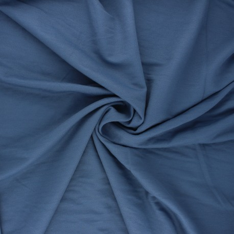 Tissu piqué viscose - bleu houle x 10cm