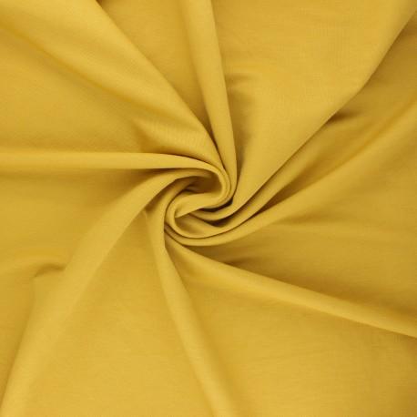 Tissu piqué viscose - jaune moutarde x 10cm