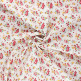 Tissu popeline de coton Happy spring - jaune moutarde x 10cm