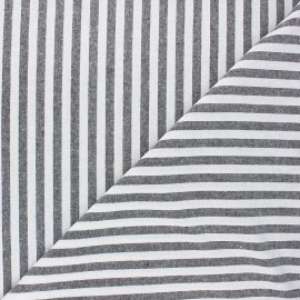 Tissu coton chambray Antibes - noir x 10cm