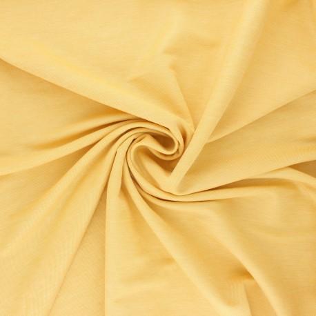 Tissu piqué viscose fluide - jaune chiné x 10cm