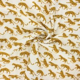 Tissu double gaze de coton Savage animal - blanc cassé x 10cm