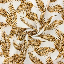 Tissu double gaze de coton Savage leaves - blanc cassé x 10cm