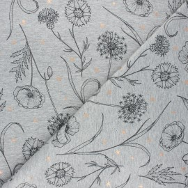 French terry fabric - mottled light grey Fleurs des champs x 10cm