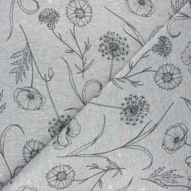 Tissu sweat léger Fleurs des champs - gris clair chiné x 10cm