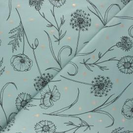 Tissu sweat léger Fleurs des champs - eucalyptus x 10cm