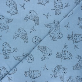 French terry fabric - swell blue Pretty owl x 10cm