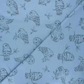 Tissu sweat léger Pretty owl - bleu houle x 10cm