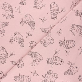 French terry fabric - light pink Pretty owl x 10cm