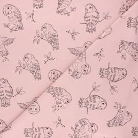 Tissu sweat léger Pretty owl - rose clair x 10cm