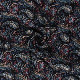 Lurex crinkled viscose fabric - black Persia x 10cm