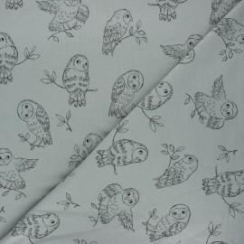 French terry fabric - grey green Pretty owl x 10cm