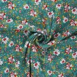 Lurex crinkled viscose fabric - green Blume x 10cm