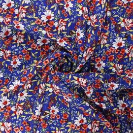 Lurex crinkled viscose fabric - blue Blume x 10cm