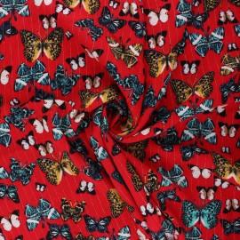 Lurex crinkled viscose fabric - red Mariposas x 10cm