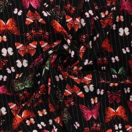 Lurex crinkled viscose fabric - black Mariposas x 10cm