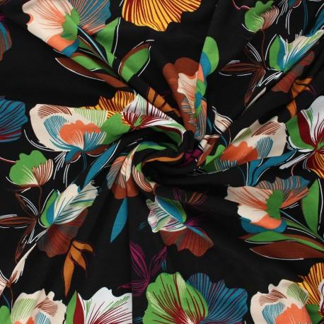 Viscose jersey fabric - black Leaves x 10 cm