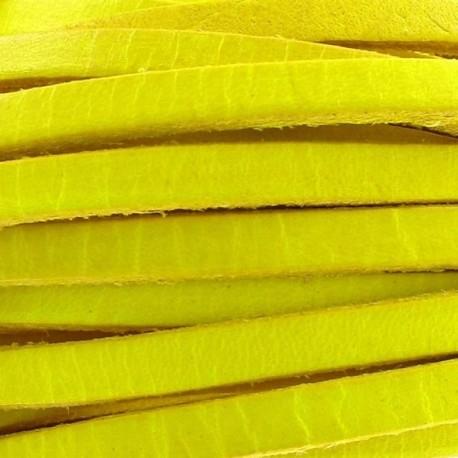 Cuir plat jaune par 50 cm