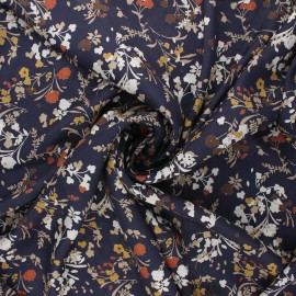Tissu satin polyester Floraison estivale - bleu marine x 10cm