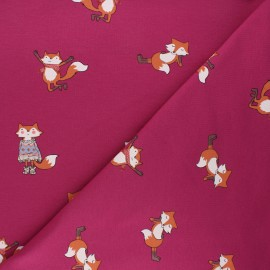 French terry fabric - purple Cool fox x 10cm
