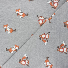 Tissu sweat léger Cool fox - gris chiné x 10cm