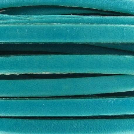 Cuir plat turquoise par 50 cm
