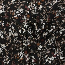 Print polyester satin fabric - black Floraison estivale x 10cm